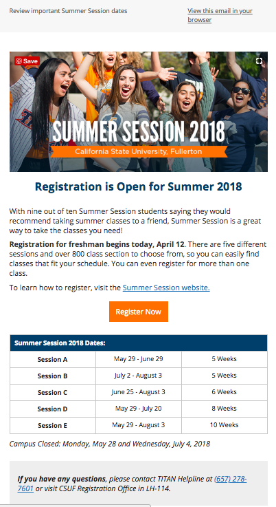 CSUF Programs (Summer Session) Dates Email